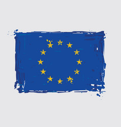European union flag flat artistic brush strokes vector