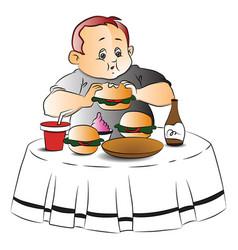 Fat boy eating burger vector