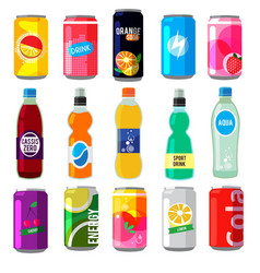 Fizzy drinks in glass bottles colored vector