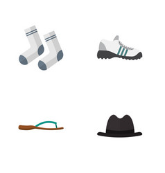 Flat icon garment set of sneakers beach sandal vector