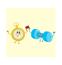 funny stopwatch and dumbbell characters with human vector image vector image