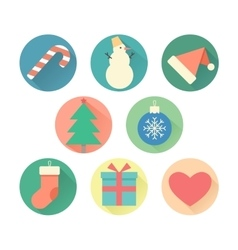 Happy New Year set of icons vector image
