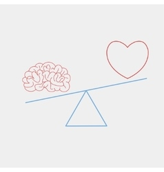 heart and brain on the scales vector image