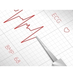Heart beats cardiogram process vector