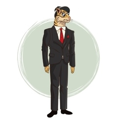 Hipster style tiger sunglasses red tie suit vector