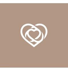 Isolated white abstract monoline heart logo love vector