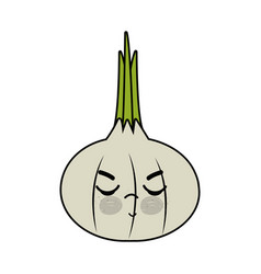 Kawaii cute angry onion vegetable vector
