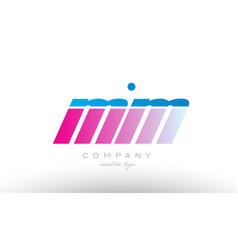 Mm m m alphabet letter combination pink blue bold vector