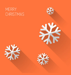 modern orange christmas card with flat design vector image