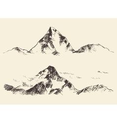 Mountains sketch contours engraving drawn vector image vector image