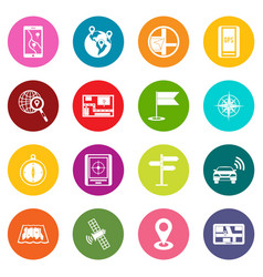 navigation icons many colors set vector image