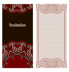 Oriental pattern card in red and black colors vector