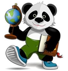 Panda with globe vector