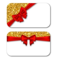 Paper Cards with Red Bow Ribbon and Golden Dust vector image