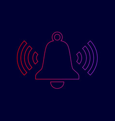 Ringing bell icon line icon with gradient vector