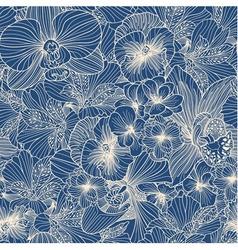 Seamless flower line art pattern vector image