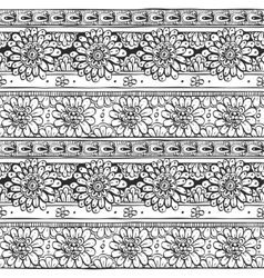 Seamless ornament from flowers doodles in ethnic vector