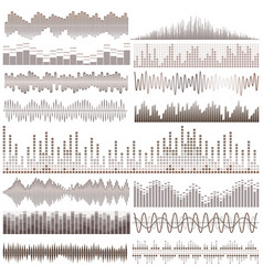 set of brown sound waves vector image vector image