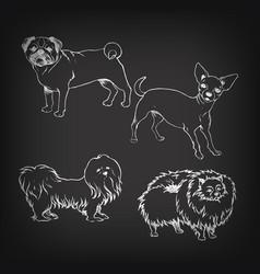 Sketch of set dogs on blackboard vector