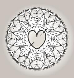 sketch of tattoo henna hearts vector image