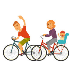 sportive family rides bicycles with baby isolated vector image