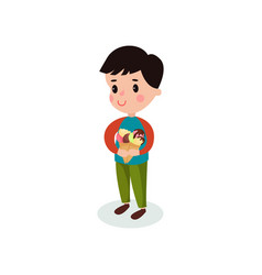 sweet boy holding two ice creams cartoon vector image vector image