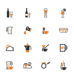 utensils for the preparation of beverages icons vector image vector image