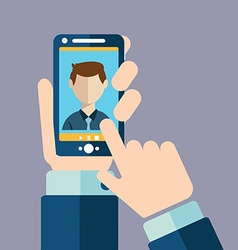 Video call online conference smart phone vector