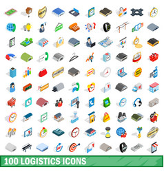 100 logistics icons set isometric 3d style vector image