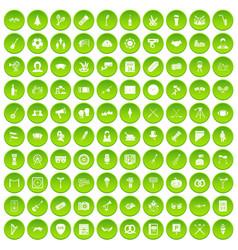 100 meeting icons set green circle vector