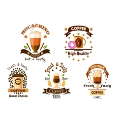 Cafe badges with coffee drinks and pastry vector