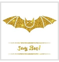 Halloween gold textured bat icon vector