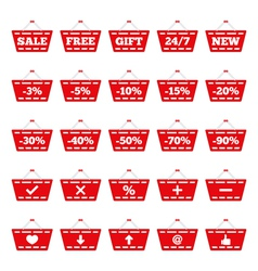 Shopping basket icons vector