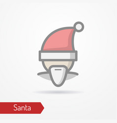 Santa claus in new year hat icon vector