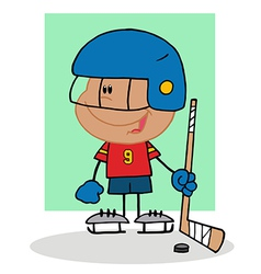 Hispanic boy playing hockey goalie vector