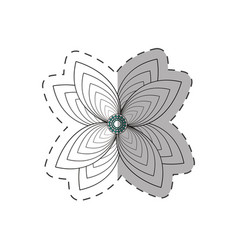 lily flower decoration monochrome vector image