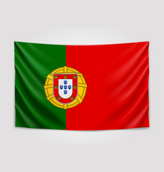 Hanging flag of portugal portuguese republic vector