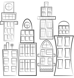 Set of separated buildings outlined vector