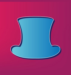 Top hat sign  blue 3d printed icon on vector