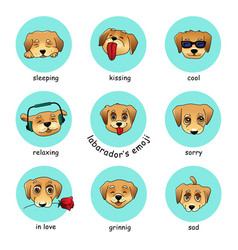 set of round stickers emojis with dog vector image