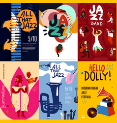 jazz poster set vector image