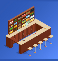 bar isometric composition vector image