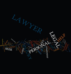 Legal help for personal injury text background vector