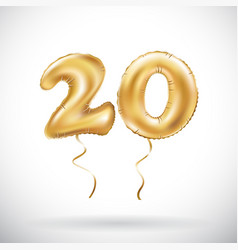 Golden number 20 twenty metallic balloon party vector