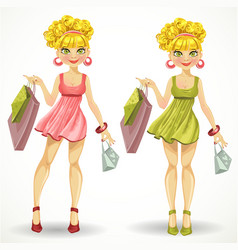 beautiful blond girl with shopping bags in some vector image