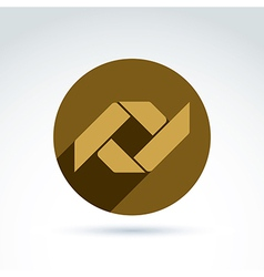 Bronze geometric abstract emblem placed in a vector
