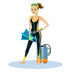 Beautiful athletic young scuba diver vector