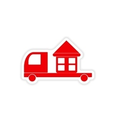 Icon sticker realistic design on paper truck home vector