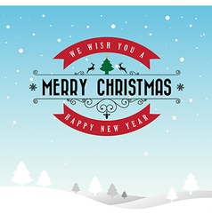 Merry christmas and happy new year typographic vector