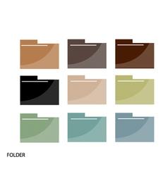 Set of file folder icons on white background vector